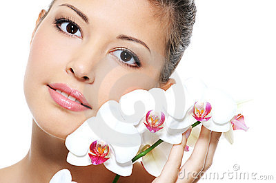 Portrait of an asian beauty girl with flower