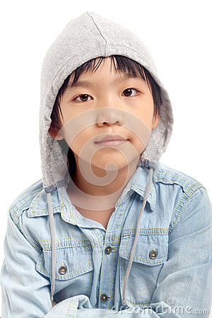 Portrait of asian boy with hood