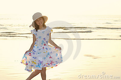 Portrait of Asian kid on the beach