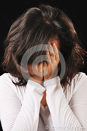 Woman Cover Her Face With Hands