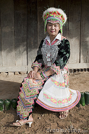 Portrait Asian woman Laos, Hmong