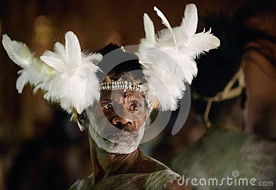 Portrait of the Asmat man Editorial Stock Photo