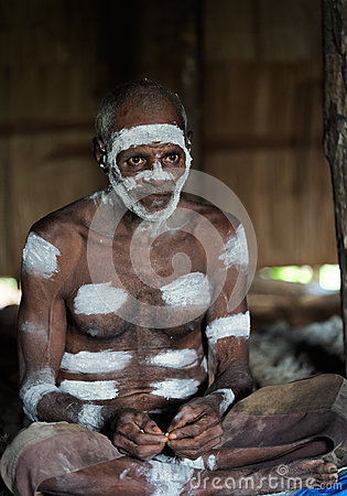 Portrait of the Asmat man Editorial Photography