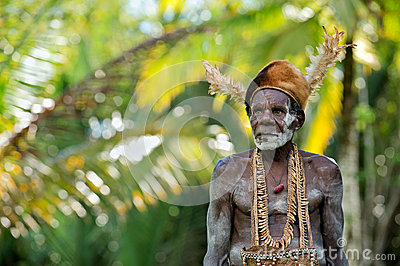 Portrait of the Asmat man Editorial Stock Image