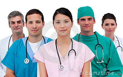 Portrait of an assertive medical team