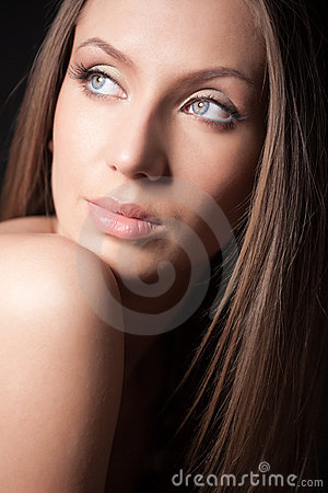 Portrait of attractive brown-haired girl