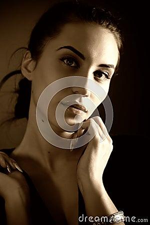 Portrait of attractive brunette girl