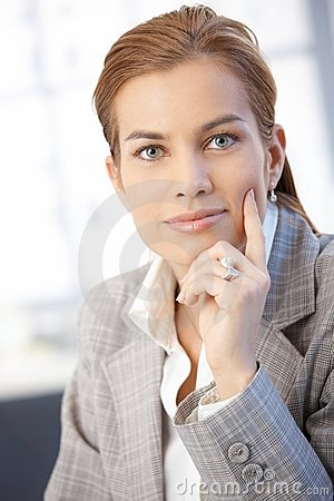 Portrait of attractive businesswoman smiling