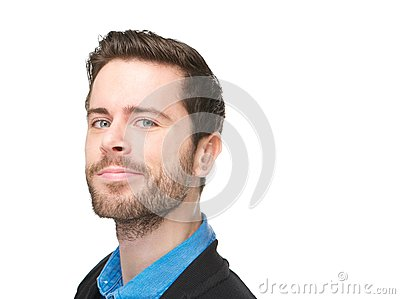 Portrait of an attractive caucasian man with grin on his face