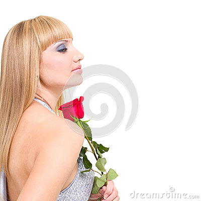 Caucasian woman with red rose