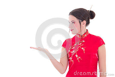 Portrait of attractive girl in red japanese dress isolated on wh