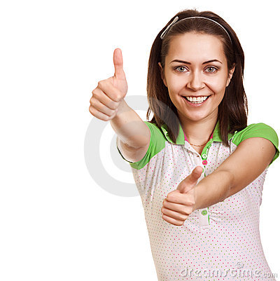 Portrait of attractive girl showing thumbs up sign