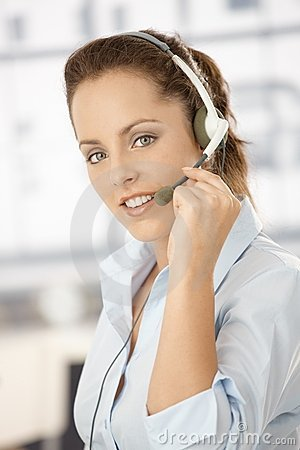 Portrait of attractive girl using headphones