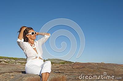 Portrait Attractive Mature Woman Outdoor