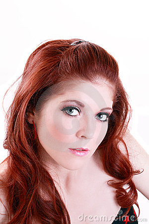 Portrait Attractive Red Head Young Caucasian Woman