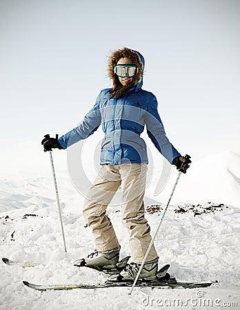 Portrait of attractive skier