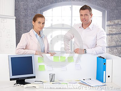 Portrait of attractive smiling office workers