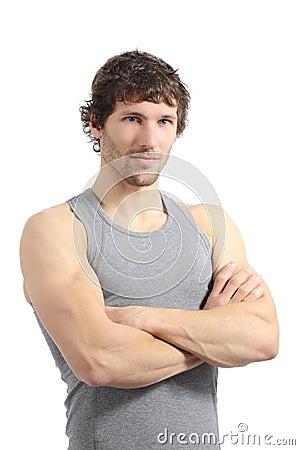 Portrait of an attractive sportsman posing