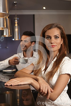 Portrait of attractive woman in bar