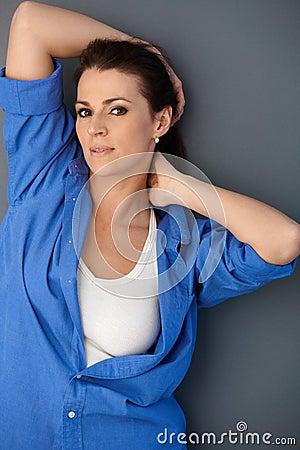 Portrait of attractive woman posing