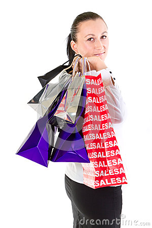 Portrait of attractive woman after shopping
