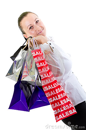 Portrait of attractive woman with shopping bags
