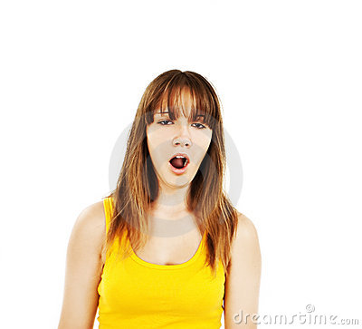 Portrait of attractive yawn teenage girl