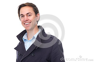 Portrait of an attractive young man smiling with blue jacket