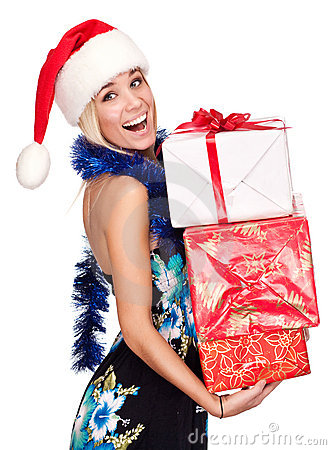 Portrait of attractive young woman with presents