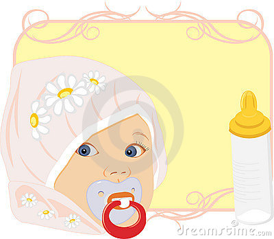Portrait of the baby with bottle for milk. Card
