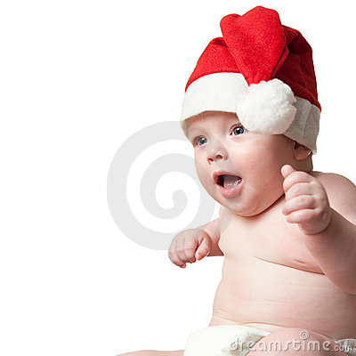 Portrait of baby boy in christmas hat