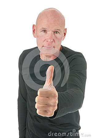 Portrait bald man with thumbs up