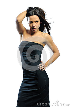 Beautiful adult sensuality woman in black dress