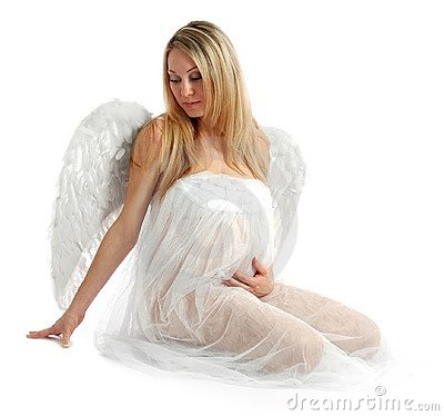 Portrait of a beautiful angelic pregnant woman