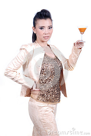 Portrait beautiful Asian girl close up woman drink