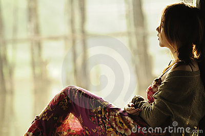 Portrait beautiful Asian teenager looking out