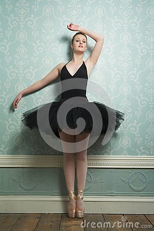 Beautiful Ballerina Standing on Toes