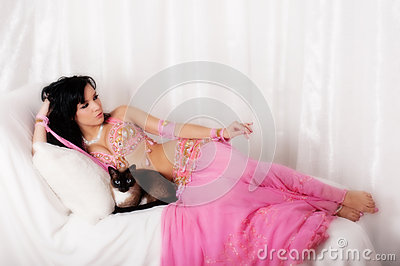 Portrait of a Belly Dancer with a Siamese Cat