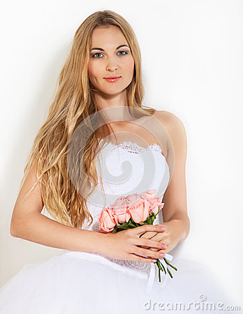 Portrait of a beautiful blond bride
