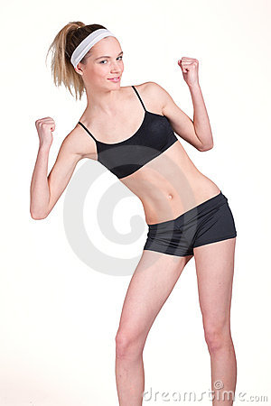 Portrait of a beautiful blond fitness girl