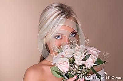 Portrait of beautiful blonde bride