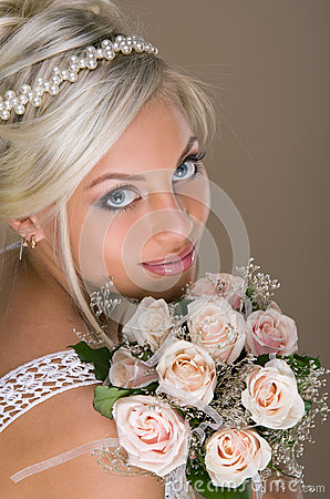 Portrait of beautiful blonde bride