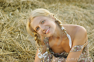Portrait of beautiful blonde country girl