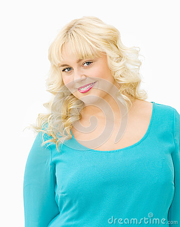 Portrait of beautiful blonde woman smiling