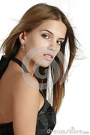 Portrait of beautiful brunette woman face