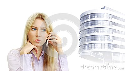 Portrait of beautiful business women with phone