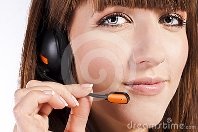 Portrait of beautiful, call centre employee