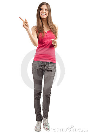 Portrait of beautiful casual girl pointing