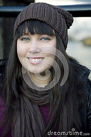 Portrait of beautiful dreamy brunette  woman