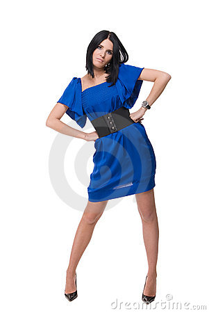 Portrait of beautiful fashion woman in blue dress